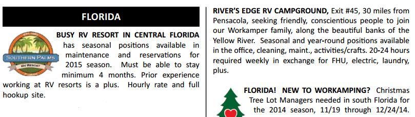 work camper jobs in florida