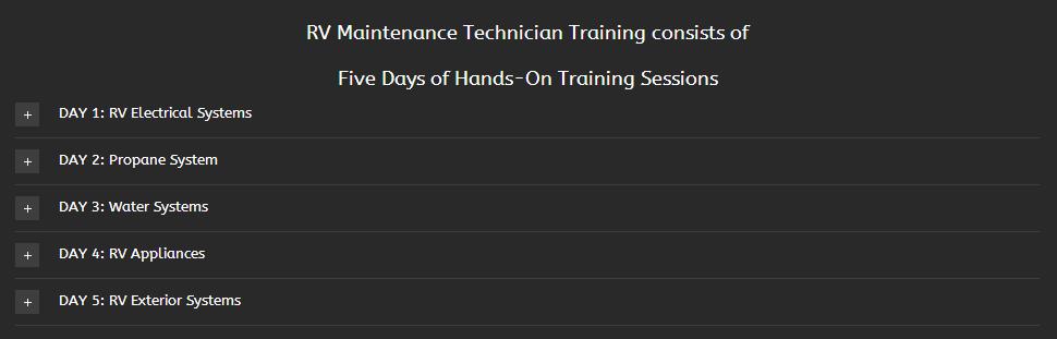 rv tech course