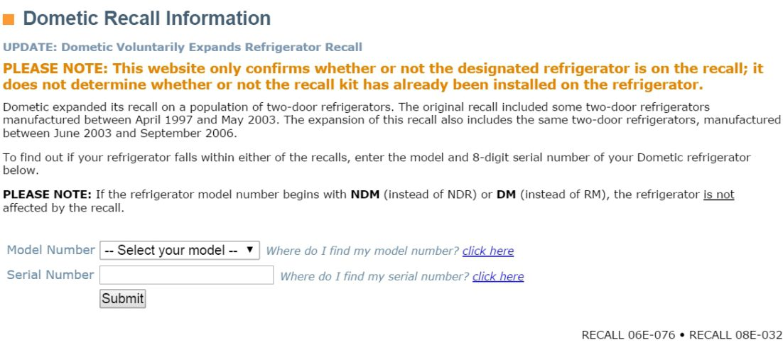 Official Dometic Recall